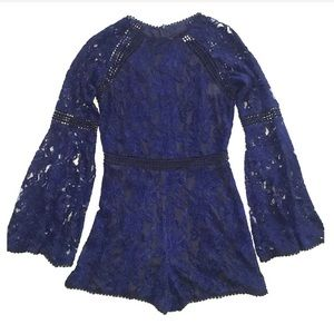 Cupcake and Cashmere Blue Cally Lace Romper
